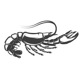 Ícone de lagosta no fundo branco.