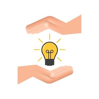 Ícone de lâmpada com as mãos. lâmpada, lâmpada incandescente. ilustração em vetor das ações.