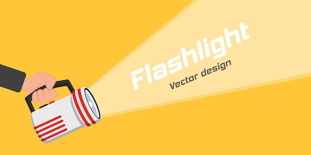 Ícone de lanterna para publicidade e texto. lugar para o seu texto. mão com segurando a lanterna e o feixe de luz de projeção em design plano.