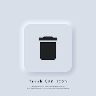 Ícone de lata de lixo. botão excluir. cesta de lixo. vetor eps 10. ícone de interface do usuário. botão da web da interface de usuário branco neumorphic ui ux. neumorfismo