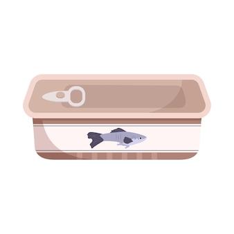 Ícone de lata de peixe fechado. uma fonte de cálcio e vitaminas Vetor Premium