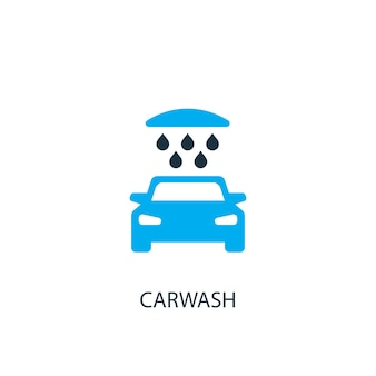 Ícone de lavagem de carros. ilustração do elemento do logotipo. desenho do símbolo de lavagem de carros de 2 coleções coloridas. conceito simples de lavagem de carros. pode ser usado na web e no celular.