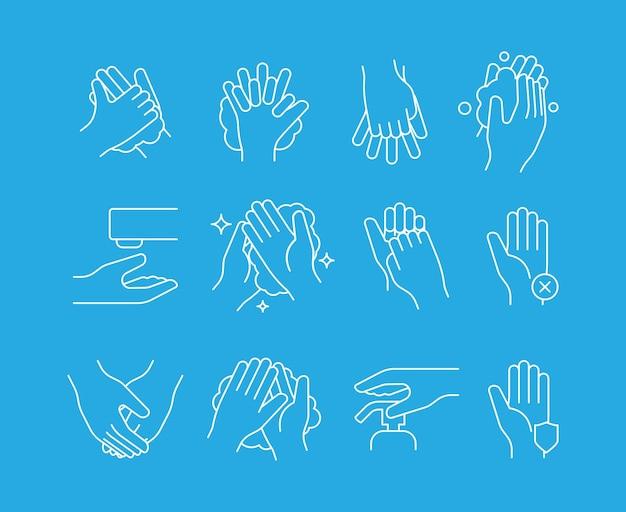 Ícone de lavagem de mãos. símbolos médicos de auto-higiene, etapas de limpeza, conjunto linear de vetor. ilustração de desinfetante de autolimpeza humana, lavagem de processo antibacteriano