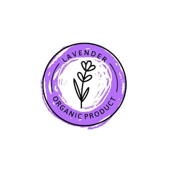 Ícone de lavanda em estilo linear moderno. lavanda orgânica à base de plantas de vetor logotipo do modelo de design de embalagens e emblema. pode ser usado para óleo, sabão, creme, perfume, chá e outras coisas
