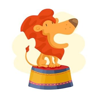 Ícone de leão de circo. ilustração dos desenhos animados do ícone de leão de circo para web design