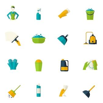 Ícone de limpeza plana