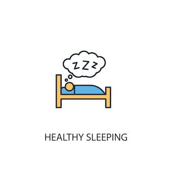 Ícone de linha colorida de conceito 2 de sono saudável. ilustração simples elemento amarelo e azul. conceito de sono saudável esboço símbolo design
