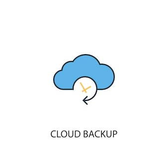 Ícone de linha colorida do conceito 2 de backup em nuvem. ilustração simples elemento amarelo e azul. projeto de símbolo de contorno de conceito de backup em nuvem