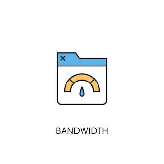Ícone de linha colorida do conceito 2 de largura de banda. ilustração simples elemento amarelo e azul. projeto de símbolo de contorno de conceito de largura de banda