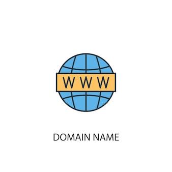 Ícone de linha colorida do conceito 2 de nome de domínio. ilustração simples elemento amarelo e azul. design de símbolo de esboço de conceito de nome de domínio