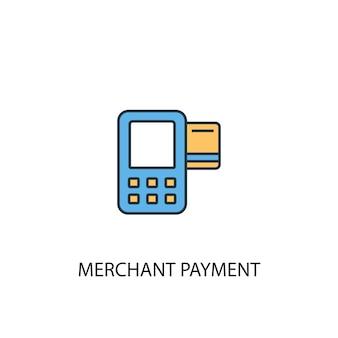 Ícone de linha colorida do conceito 2 de pagamento de comerciante. ilustração simples elemento amarelo e azul. projeto de símbolo de esboço de conceito de pagamento de comerciante