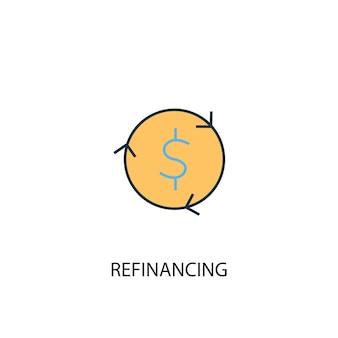 Ícone de linha colorida do conceito 2 de refinanciamento. ilustração simples elemento amarelo e azul. projeto de símbolo de contorno de conceito de refinanciamento