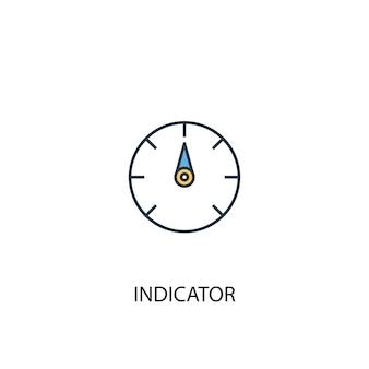 Ícone de linha colorida do conceito 2 do indicador. ilustração simples elemento amarelo e azul. indicador conceito esboço símbolo design