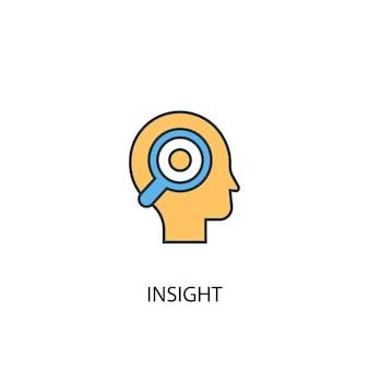 Ícone de linha colorida do conceito 2 do insight. ilustração simples elemento amarelo e azul. conceito insight esboço símbolo design