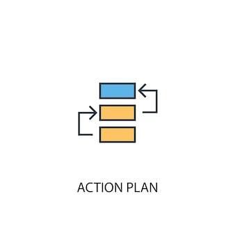 Ícone de linha colorida do conceito 2 do plano de ação. ilustração simples elemento amarelo e azul. plano de ação conceito esboço símbolo design