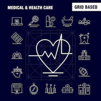 Ícone de linha de assistência médica e saúde para web, impressão e kit de ux / ui móvel.