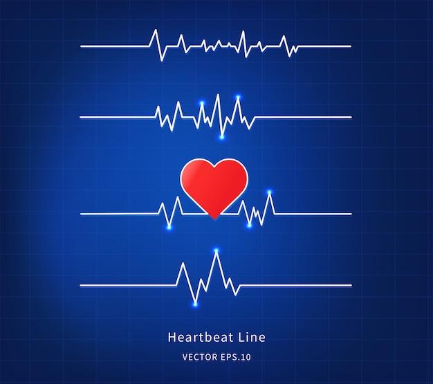 Ícone de linha de batimento cardíaco em fundo azul.