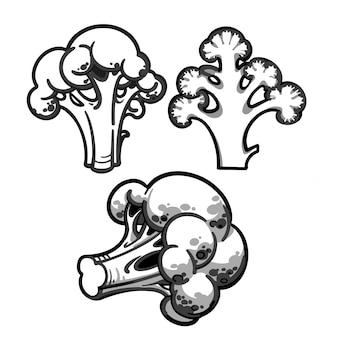 Ícone de linha de brócolis. ícone de brócolis para seu projeto. isolado no fundo branco. corte de brócolis.