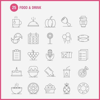 Ícone de linha de comida e bebida