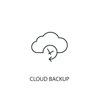 Ícone de linha de conceito de backup em nuvem. ilustração de elemento simples. projeto de símbolo de contorno de conceito de backup em nuvem. pode ser usado para ui / ux da web e móvel