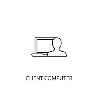 Ícone de linha de conceito de computador cliente. ilustração de elemento simples. projeto do símbolo do esboço do conceito do computador cliente. pode ser usado para ui / ux da web e móvel