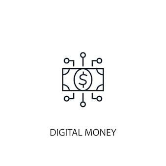 Ícone de linha de conceito de dinheiro digital. ilustração de elemento simples. projeto de símbolo de contorno de conceito de dinheiro digital. pode ser usado para ui / ux da web e móvel