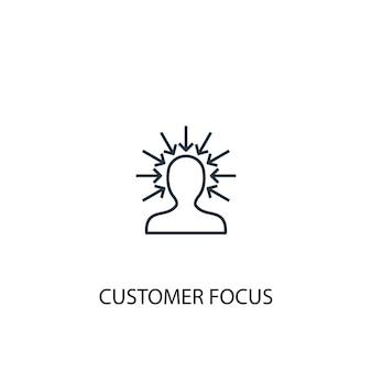 Ícone de linha de conceito de foco no cliente. ilustração de elemento simples. cliente foco conceito esboço símbolo design. pode ser usado para ui / ux da web e móvel