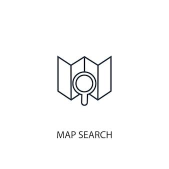 Ícone de linha de conceito de pesquisa de mapa. ilustração de elemento simples. mapa pesquisa conceito esboço símbolo design. pode ser usado para ui / ux da web e móvel