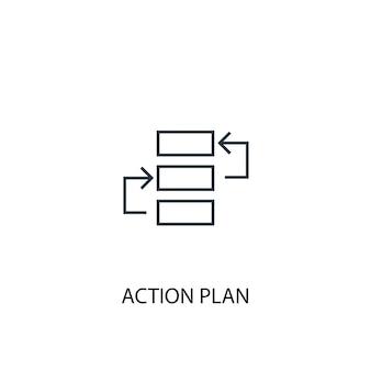 Ícone de linha de conceito de plano de ação. ilustração de elemento simples. projeto do símbolo do esboço do conceito do plano de ação. pode ser usado para ui / ux da web e móvel