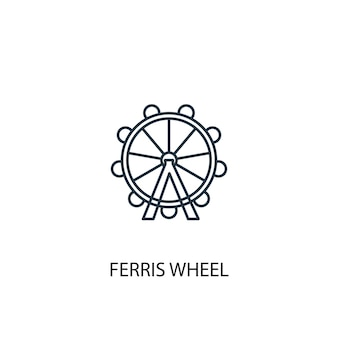 Ícone de linha de conceito de roda gigante. ilustração de elemento simples. projeto de símbolo de contorno de conceito de roda gigante. pode ser usado para ui / ux da web e móvel