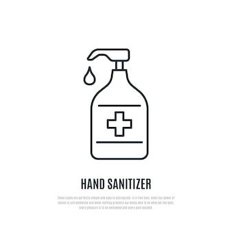 Ícone de linha de desinfetante para mãos isolado no fundo branco