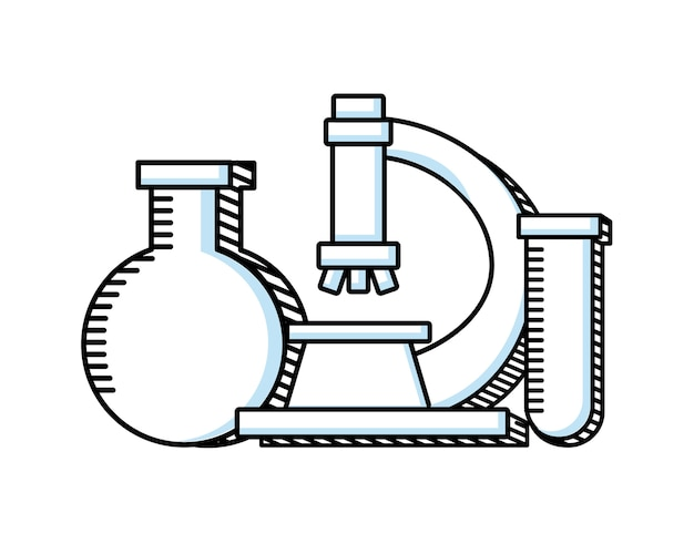 Ícone de linha de educação científica