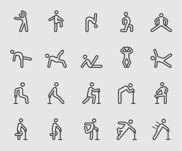 Ícone de linha de exercício do corpo