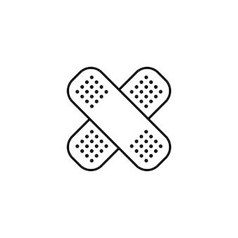 Ícone de linha de gesso adesivo. emplastros de farmácia. emergência. hospital. cuidados de saúde. vetor em fundo branco isolado. eps 10.