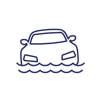 Ícone de linha de inundação com um carro