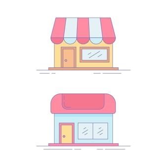 Ícone de linha de mercado inicial ou logotipo