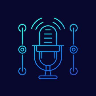 Ícone de linha de microfone para aplicativos e web