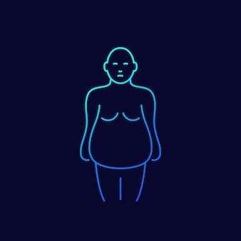 Ícone de linha de obesidade escuro
