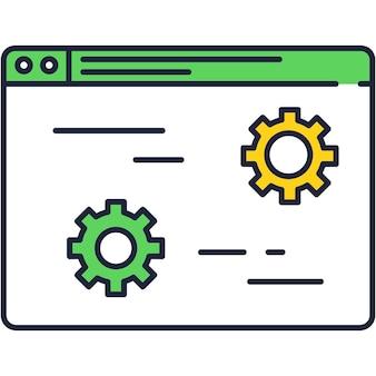 Ícone de linha de vetor de design de configurações de rede isolado