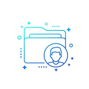 Ícone de linha de vetor de pasta de dados pessoais