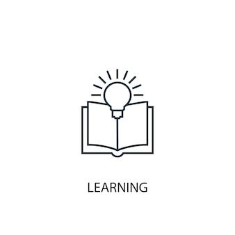 Ícone de linha do conceito de aprendizagem. ilustração de elemento simples. projeto de símbolo de estrutura de tópicos de conceito de aprendizagem. pode ser usado para ui / ux da web e móvel