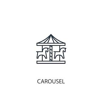 Ícone de linha do conceito de carrossel. ilustração de elemento simples. projeto do símbolo do esboço do conceito do carrossel. pode ser usado para ui / ux da web e móvel