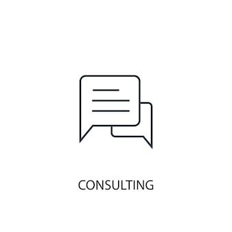 Ícone de linha do conceito de consultoria. ilustração de elemento simples. consultoria conceito esboço símbolo design. pode ser usado para ui / ux da web e móvel