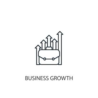 Ícone de linha do conceito de crescimento empresarial. ilustração de elemento simples. projeto de símbolo de contorno de conceito de crescimento de negócios. pode ser usado para ui / ux da web e móvel