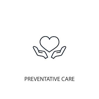 Ícone de linha do conceito de cuidados preventivos. ilustração de elemento simples. projeto do símbolo do esboço do conceito de cuidados preventivos. pode ser usado para ui / ux da web e móvel