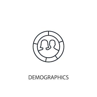 Ícone de linha do conceito de demografia. ilustração de elemento simples. demografia conceito esboço símbolo design. pode ser usado para ui / ux da web e móvel