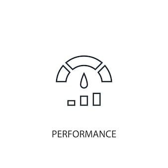 Ícone de linha do conceito de desempenho. ilustração de elemento simples. design de símbolo de estrutura de tópicos de conceito de desempenho. pode ser usado para ui / ux da web e móvel
