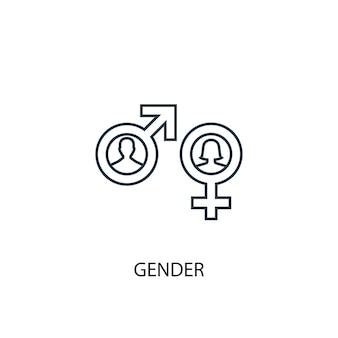 Ícone de linha do conceito de gênero. ilustração de elemento simples. projeto de símbolo de contorno de conceito de gênero. pode ser usado para ui / ux da web e móvel