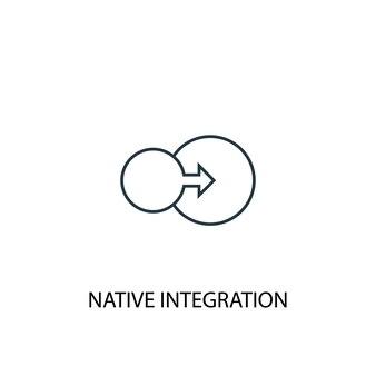 Ícone de linha do conceito de integração nativa. ilustração de elemento simples. projeto de símbolo de contorno de conceito de integração nativa. pode ser usado para ui / ux da web e móvel