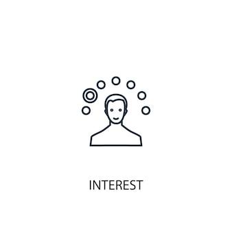 Ícone de linha do conceito de interesse. ilustração de elemento simples. interesse conceito esboço símbolo design. pode ser usado para ui / ux da web e móvel